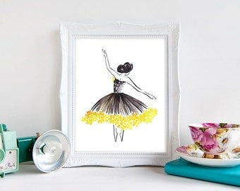 Sunflower Ballerina - Watercolour Fashion Illustration Print