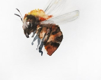 PRINT of watercolor, BEE painting, Bumble Bee, Honey Bee, home decor, for her gift, Nature Illustration Bee Art OOAK