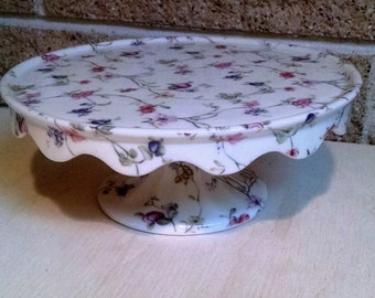 Chintz Ivory and Floral / Fruit Porcelain Pedestal Cake Stand - Made in China