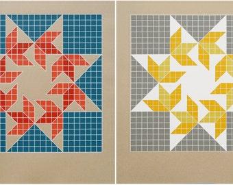 Barn Quilt / Silkscreen Print Set                                                                         HEXAFOOS Flying Sparrows Grid