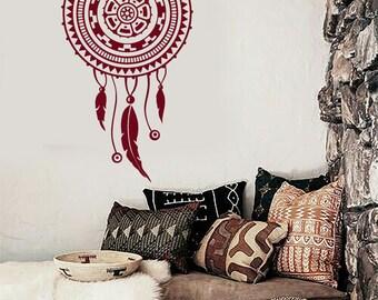 Wall Vinyl Decal Bedroom Decor Dream Catcher Lakota Willow Hoop Snare Modern Ethnic Home Decor (#1080dz)