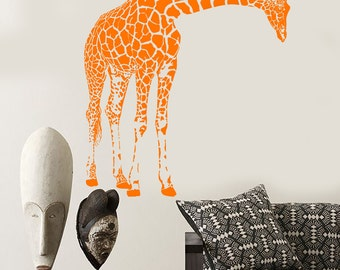 Wall Vinyl Decal Jungle African Safari Decor Giraffes Family Ethnic Modern Sketch Home Art Decor (#1168dz)