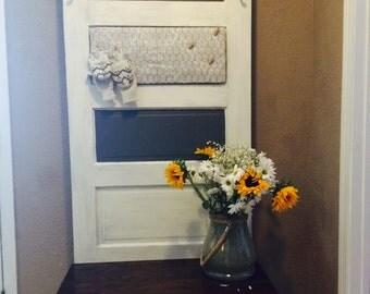 Reclaimed Vintage Door Hall Tree and Bench Cream