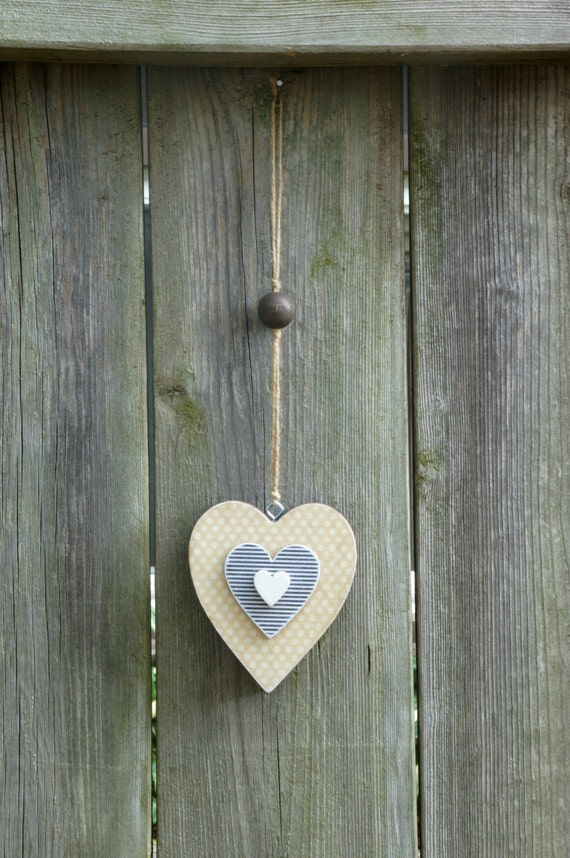 Hanging Heart Wall Decor : Items similar to wooden hanging heart decor wood