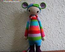 Handmade Crochet Colorful Rat Rada - Lalylala Pattern, Plush Toy, Stuffed Animal, baby shower gift