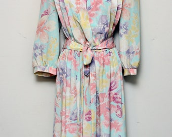 80s Jonathan Martin Multi Color Floral Dress Size L