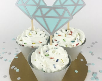 Party Decorations - Engagement Party - Diamond Cupcake Toppers - Bridal Shower - Light Blue and Silver Diamond Cupcake Toppers - Set of 12
