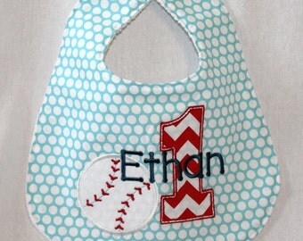 Boy's First Birthday Bib  - With baseball and 1.  Includes personalization.