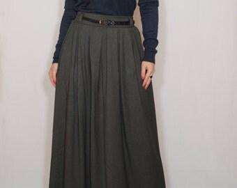 Gray wool skirt Women long skirt High waisted maxi skirt with pockets