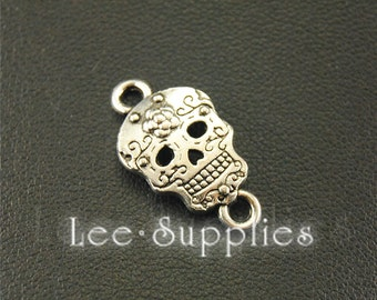 30pcs Antique Silver Skull Charms Connector A1575
