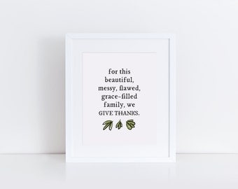 Grace-Filled Family Print, Fall Leaves Typography Thanksgiving