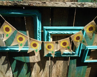 Sunflower Burlap Banner Garland