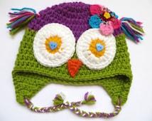 Merino wool owl hat with flower, Newborn owl hat, Toddler owl hat, Adult owl hat, Violet owl hat Green owl hat Merino wool hat Baby wool hat