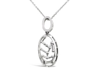 Bird Cage Pendant - Silver Cage Pendant - Silver Pendant - Silver Pendant Necklace - Bird Cage Charm - Silver Jewellery