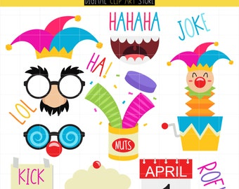 April Fools Day, Joker, Funny Fool, Happy April Digital Clip Art For Planner Stickers, Scrapbooking, Journal, Art Pieces