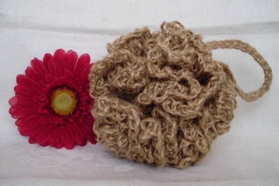 HANDMADE SPONGE BALL with loop , crochet sponge, 100 % natural jute