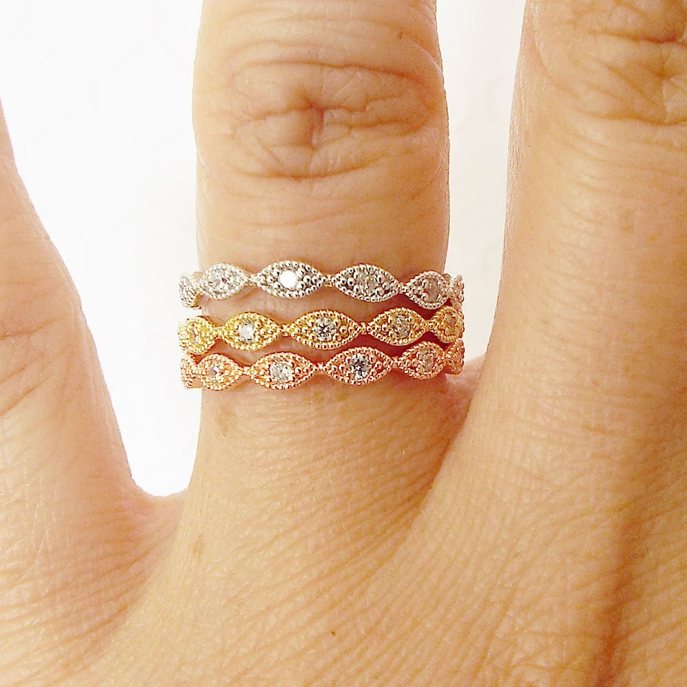Dainty Sterling Silver Vintage style milgrain art deco wedding Stacking Band CZ Diamond pave wavy full eternity stacking wedding Band
