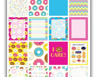 Donuts full boxes planner stickers | Themed weekly kit | Erin Condren vertical theme weekly kit | Weekly planner stickers