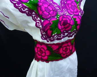 mexican dress mexican peasant dress mexican dress, mayan, vintage huipil M-L, F1