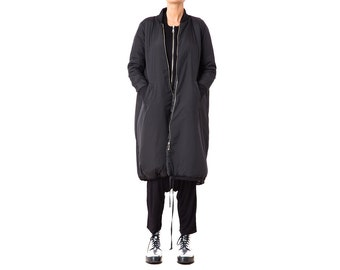 Long Winter Coat, Maxi Parka Jacket, Plus Size Jacket, Long Bomber Jacket, Black Maxi Jacket, Oversized Coat, Black Bomber Coat
