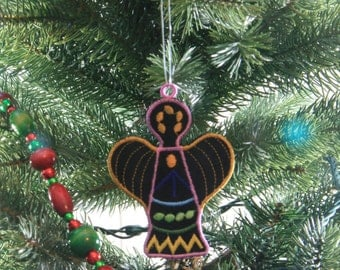 Angel Ornament, African Ornament, African Inspired Angel Christmas Ornament, African Christmas Ornament, Embroidered Ornament, FSL Ornament