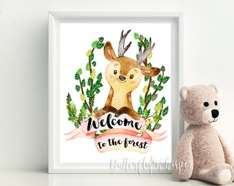 Woodland Animals Illistration Printable, Woodland Nursery Decor Print, Forest Animals, Kids Room Wall Art, Welcome to the forest, Deer print