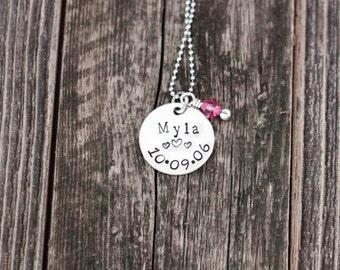 Hand stamped mommy necklace / personalized with your child's name and birthdate / mommy brag necklace