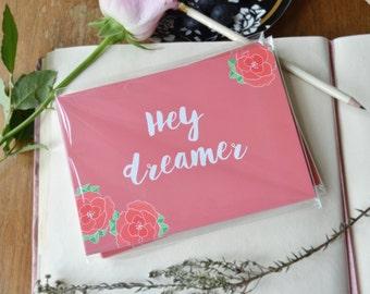 Hey Dreamer, blush floral postcard set