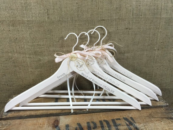 BUY 9 get 1 FREE - 10 Custom Printed Personalised Wedding Hangers - Custom Painted Decorative Bridesmaids Hangers - Set of Bridal Hangers