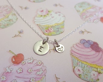 Sterling Silver Personalised Disc Initial & Heart Necklace, Silver Initial Pendant