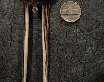 SCA Hair Pin Flower-Hair accessories- hippie-flower hair-Bone carving-real Deer horn-Carved Antler hair fork
