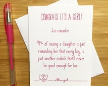 Baby Shower Card, It's a girl, Congrats baby girl, New Baby Card, Baby Announcement, Cards for Baby Girl, Baby Congratulations, Funny Baby