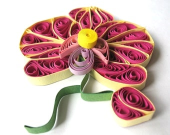 Orchids quilling decoration, Flowers ornament, set of 3 pieces