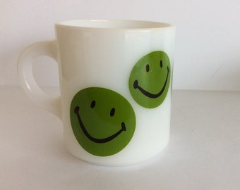 Vintage Milk Glass Green Smiley Face Mug