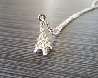 Silver Eiffel Tower Necklace - France Charm Necklace - Personalized Necklace - Custom Gift - Initial Necklace - Trendy Jewelry - Geeky