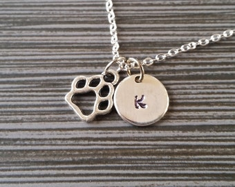 Silver Dog Paw Necklace - Dog Lover Necklace - Personalized Necklace - Custom Gift - Initial Necklace - Initial Jewelry - Gifts Under 10