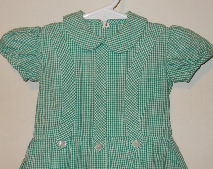 Vintage 50s Handmade Green White Check Cotton School Girl Baby Girls' Infant Doll Short Sleeve Day Dress Size 0