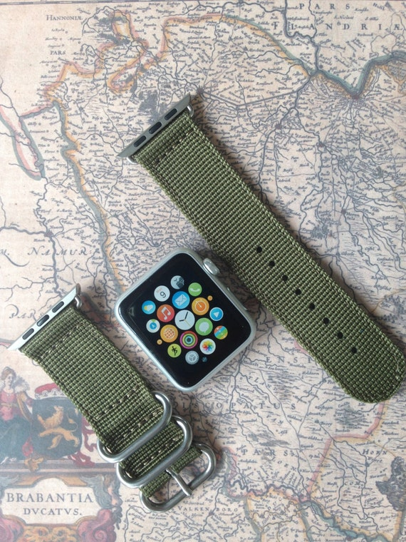 Apple watch original, series 1, series 2 band: Zulu strap 2-piece (army green), Free Shipping Worldwide!