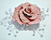 Bridal hair comb, sugar plum rose with crystals ~ Glittered hair flower ~ Bridesmaid hair accessories ~ Vintage wedding beaded headpiece