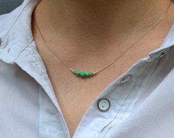 OPAL NECKLACE // Kiwi Opal Ball Necklace - Opal Charm Necklace - Opal Bead Necklace - Opal Dot Necklace - Everyday Opal Necklace