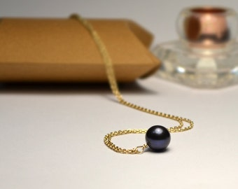 Black Pearl NECKLACE // Dot Necklace - Ball Necklace - Pearl Charm Necklace - Circle Necklace - Drop Necklace - Everyday Necklace