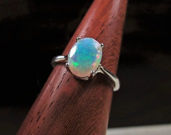 Opal Ring, Genuine Opal, Fire Opal, Rainbow Opal,  Special Occasion, Wedding Jewelry, Simple Jewelry, Ring for Her, New Ring, Resort Wear
