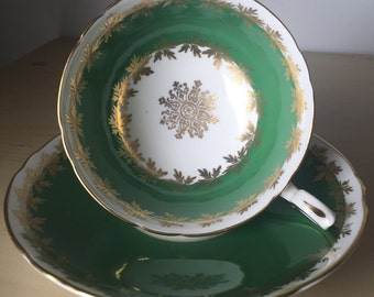 Green Shelley Vintage Teacup and Saucer, Green & White Gold Leaf Tea Cup and Saucer, English Bone China, Tea Party