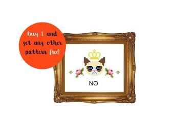 funny cross stitch pdf pattern instant download / funny grumpy cat cross stitch / simple subversive cross stitch / grumpy cat gift