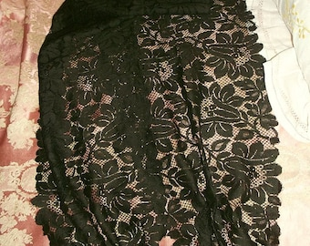 Antique  Silk Lace Stole, Scarf - Upcycled
