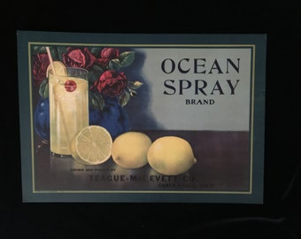SALE!!  Very Old Rare Ocean Spray Collectible Crate Label Collectible