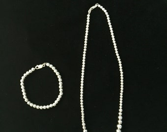 Sterling Silver Ball Bead Necklace and Bracelet Set. Sweet!