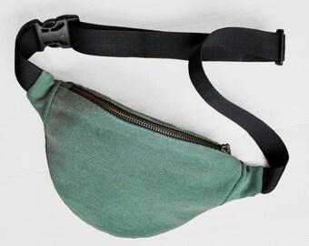 Green jeans Waist bag money belt hip bag belt bag fanny pack, green jeans bum bag, festival bag, gift for him