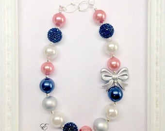 Navy Blue Coral Pink and Silver Spring Easter Chunky Bubblegum Beaded Toddler Girls Necklace