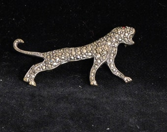 Rhinestone or diamante  leopard brooch--costume jewelry from the 1940's